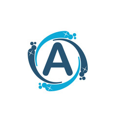 Water clean service abbreviation letter a vector