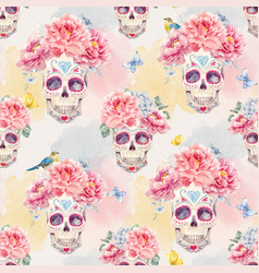 Watercolor skull seamless pattern vector