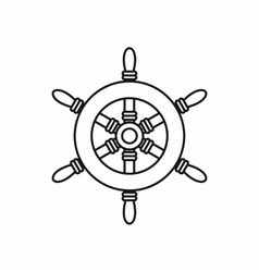 Ship steering wheel icon outline style vector image