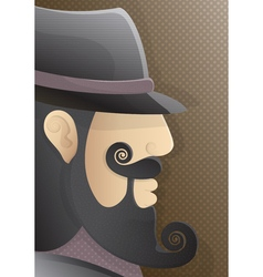 A man with a curly beard and black hat vector