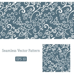 Excellent seamless floral pattern white and blue vector image