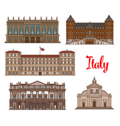 Italian tourist sights icon set for travel design vector