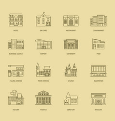 Outline town houses vector