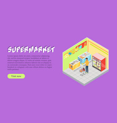 Supermarket department isometric web banner vector