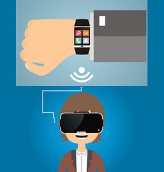 Smart watches are connected to the virtual vector