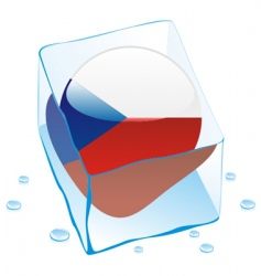 Frozen button flag of czech vector
