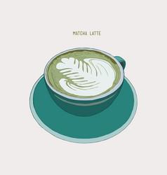 Matcha latte latte hot drink with latte art vector