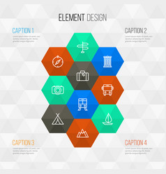 Journey outline icons set collection of arrows vector