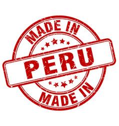 Made in peru red grunge round stamp vector