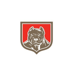 Pitbull dog mongrel head shield woodcut vector
