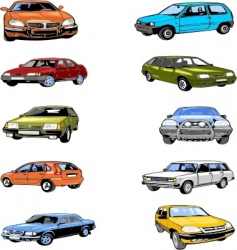 ten passenger cars vector image