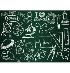 Scientific icons and formulas on the school board vector