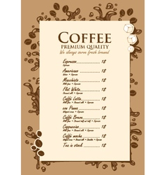 Coffee list vector