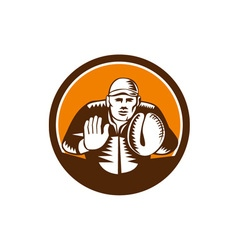 Baseball catcher gloves circle woodcut vector