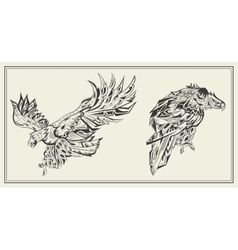 Birds eagles graphic black and white style vector