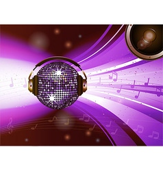 Pink disco ball with headphone and speaker vector