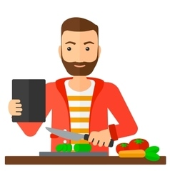 Man cooking meal vector