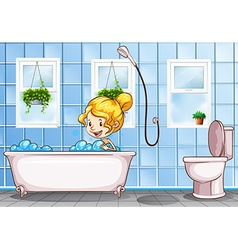 Girl taking bath in the bathroom vector