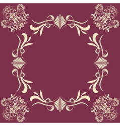 Vintage background with damask frame vector