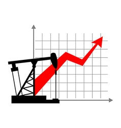 Graphic growth and oil rig oil quotations grow up vector