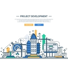 Project Development - line design website banner vector image