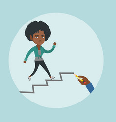 African employee running up the career ladder vector