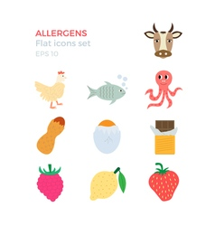 Allergens flat design icons set vector