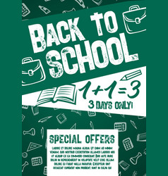 back to school chalkboard sale offer poster vector image vector image