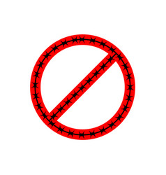 ban sign of barbed wire prohibited fences vector image vector image