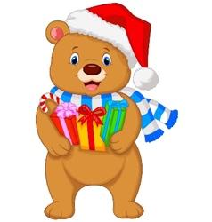Bear cartoon holding gifts vector image vector image
