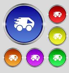 Car icon sign round symbol on bright colourful vector