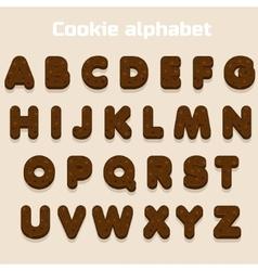 Cartoon Chocolate cookie font biskvit alphabet vector image
