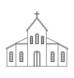 Church icon in outline style isolated on white vector