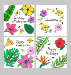 Colored floral decorative invitation cards set vector