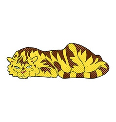 comic cartoon resting tiger vector image vector image