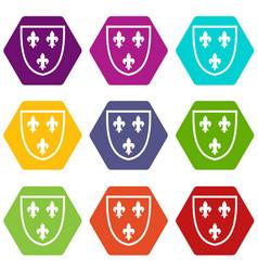 Crest icon set color hexahedron vector