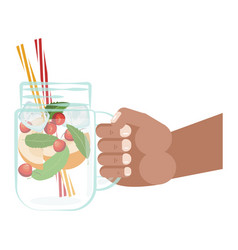 Detox water in hand vector