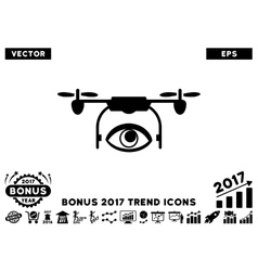 Eye spy drone flat icon with 2017 bonus trend vector