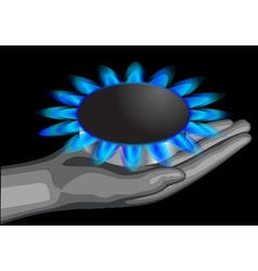 gas on the palm vector image vector image