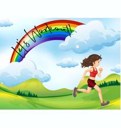 girl running in park vector image vector image