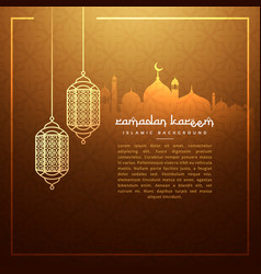 Hanging ramadan festival lamps with masjid vector
