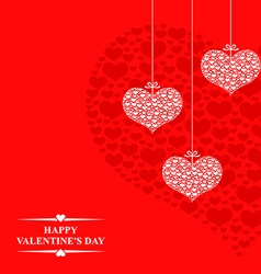 hearts card hanging red vector image vector image