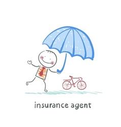 Insurance agent protects bike umbrella vector