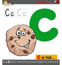 letter c with cartoon cookie sweet vector image vector image