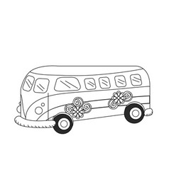 Line retro hippie bus transportation with flowers vector