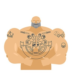 Man tattoos bandit with big muscles strong vector