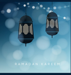 ornamental arabic lanterns with string of lights vector image