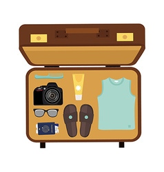 Packed suitcase vector