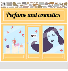 Perfume and cosmetics shop vector