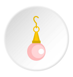 Pink pearl pendant icon circle vector